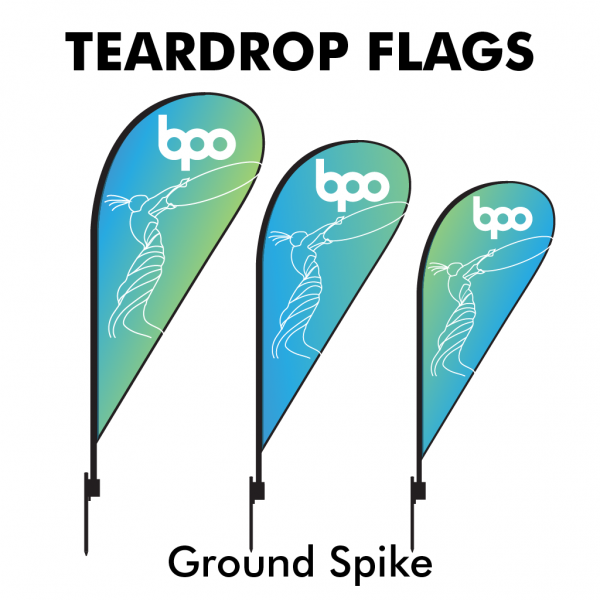 Belfast Print Online - Printed Teardrop Flags 115gsm - Ground spike