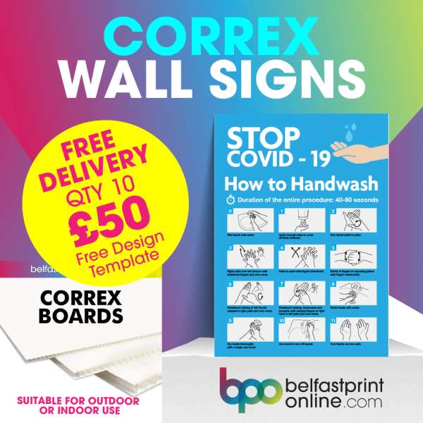 Coronavirus Wall Signs - Social Distancing Correx Signage A3, A2 - COVID 19 Safety Signage - Belfast Print Online