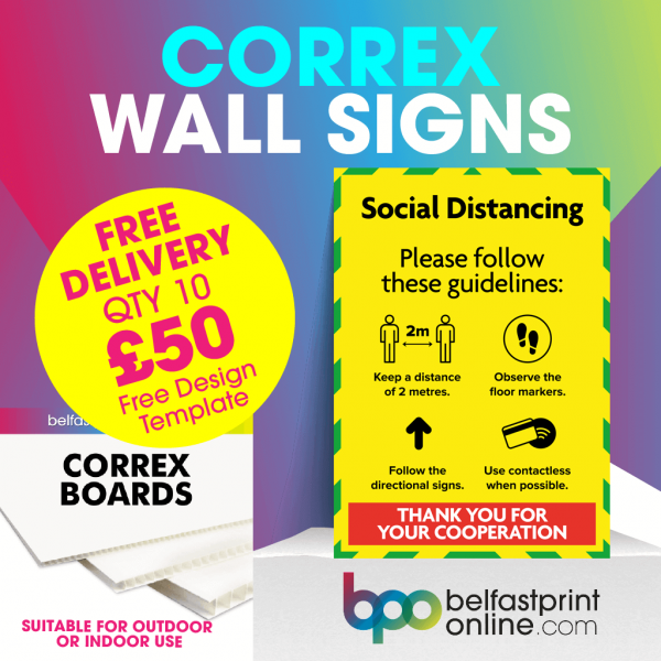 Coronavirus Wall Signs - Social Distancing Guidelines - Social Distancing Correx Signage A3, A2 - COVID 19 Safety Signage - Belfast Print Online