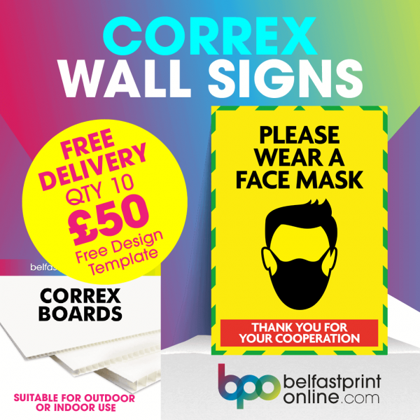 Coronavirus Wall Signs - Wear A Mask - Social Distancing Correx Signage A3, A2 - COVID 19 Safety Signage - Belfast Print Online