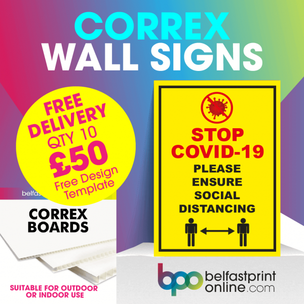 Coronavirus Wall Signs - Social Distancing Correx Signage A3, A2 - COVID 19 Safety Signage - Belfast Print Onlineirus Wall Signs - Social Distancing Correx Signage A3, A2 - Belfast Print Online
