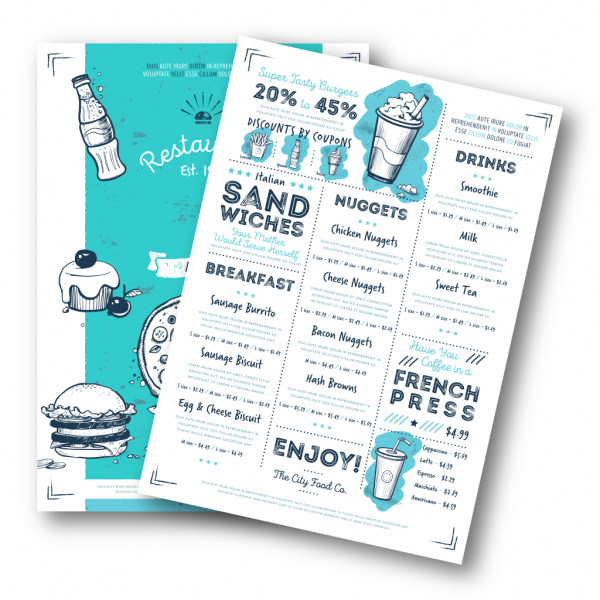 Printed Menus for Restaurants, Cafes and Bars - Belfast Print Online