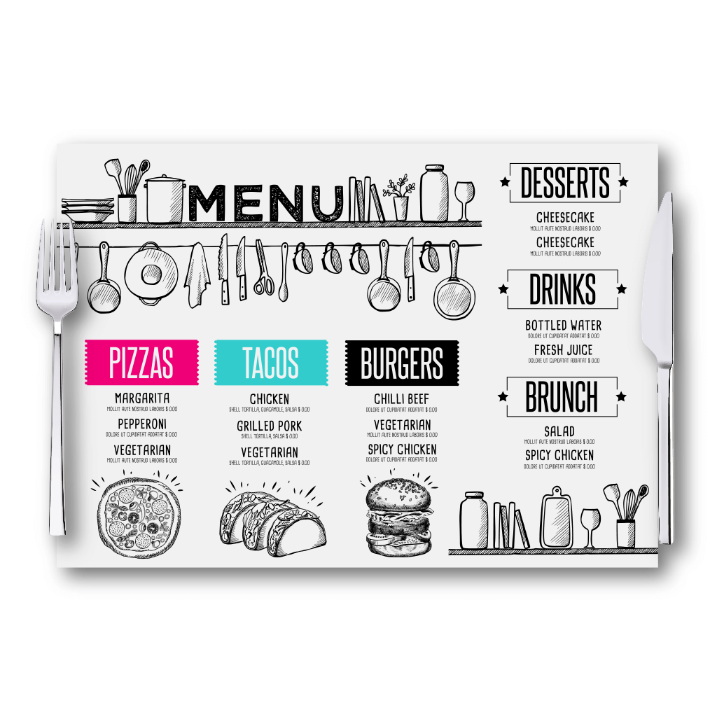 Printed Placemats - Disposable or Wipeable - Belfast Print Online
